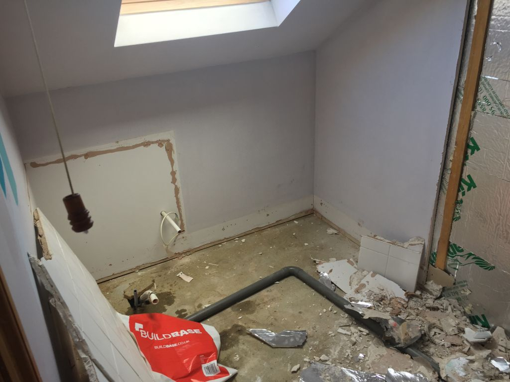 During works photo of small bathroom